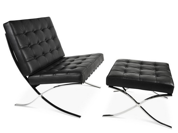 Barcelona chair and ottoman - Black
