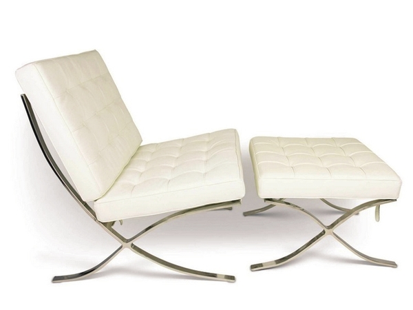 Barcelona chair and ottoman - Cream