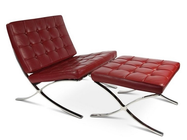 Barcelona chair and ottoman - Red