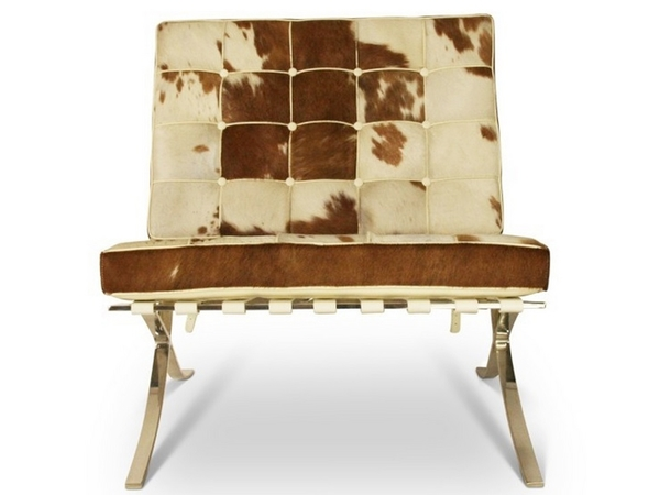 Barcelona chair Pony - Brown & white