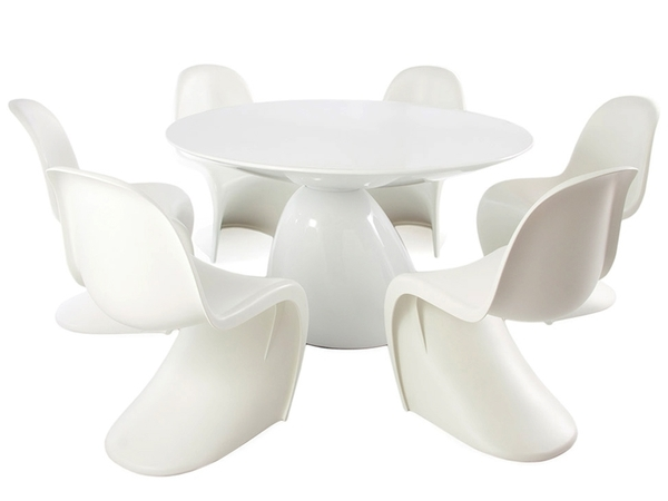 Dining table Parabol and 6 chairs