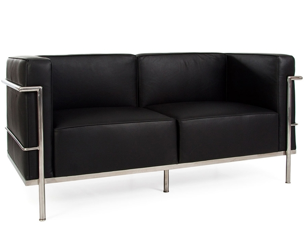 LC2 Le Corbusier 2 Seater Large - Black