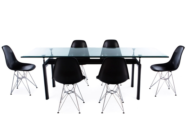 LC6 Le Corbusier table and 6 chairs