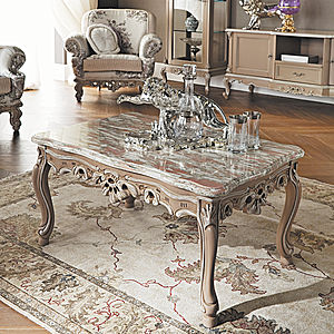 Rectangular coffee table with marble top by Modenese Gastone