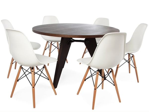 Round table Prouvé and 6 chairs