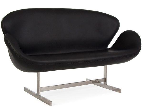 Swan AJ 2 Seater Leather - Black